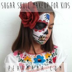 Adorable, sweet and happy tutorial on Dia De Los Muertos face painting!