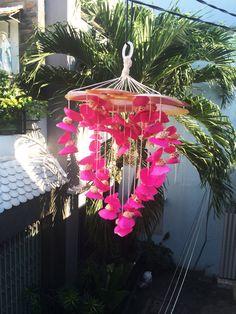 Items similar to Charm Pink Seashel Seashell Wind Chimes, Seashell Crafts, Sea Shells, Charmed, Patio, Heart, Unique Jewelry, Handmade Gifts, Garden