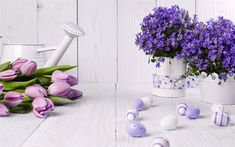 Download wallpapers Easter, purple easter eggs, decoration, April 1, 2018, purple tulips, spring