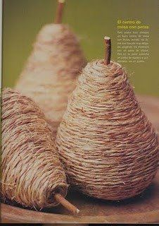 Old light bulbs wrapped in twine and turned into crafty pears, just glue a stick on for a stem or use a real apple stem!