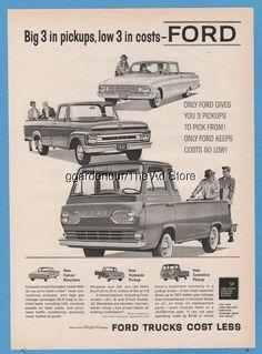 1961 Ford Falcon Ranchero F-100 F100 Styleside Pickup Econoline Truck Vintage Ad