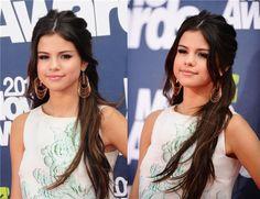 Selena Gomez long wavy half-down by clip in 22 inch black wavy extension for short hair