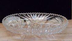 Cut Glass Oval Bowl Vintage Wedding Housewarming Christmas Gift Serving Dish