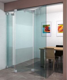 Folding partition / glass / frameless / professional L-2500 METALGLAS
