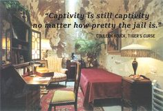 """""""Captivity is still captivity no matter how pretty the jail is.""""  ― Colleen Houck, Tiger's Curse"""