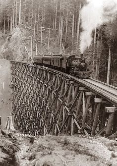 Old Picture of the Day: Locomotive on Trestle