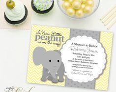 Baby Shower Invitation Elephant baby shower by JCpartyprint