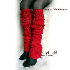 Roch Valley Dance Knitted Leg Warmers 40 cm Red 80/'s