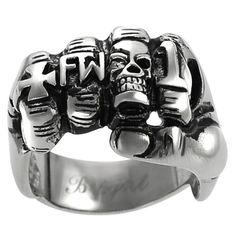 Vance Co. Men's Stainless Steel Fist Biker Ring   Overstock.com Shopping - Big Discounts on Vance Co. Men's Rings
