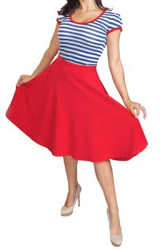 NWT Red & Black High Waist Thrills Skirt Rock Steady 50s Pin-up Size S M L XL #RockSteady #ALine $47