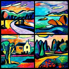 From a photo of a simple landscape, I tried to paint  in the style of Kandinsky. He painted many landscapes, using the style that characterizes his abstract painting. We can see the lines which surround the stylized shapes of the landscape, and the colors that are not realistic.