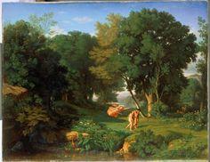 """Jean Achille Benouville: """"Adam et Eve chassés du Paradis terrestre"""", 1841, oil on canvas, Dimensions: H. 114,5 ; l. 146,5, Exposition: 1842 : Paris, Salon (n°91), Besançon ; musée des beaux-arts et d'archéologie."""