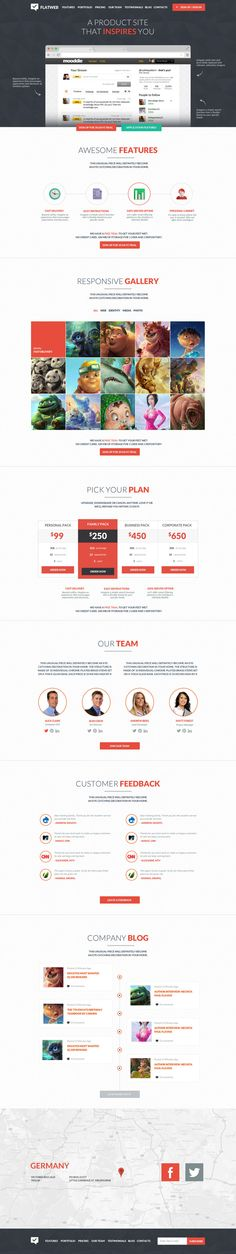 FlatWeb - One Page Multipurpose Business Template #ui #webdesign