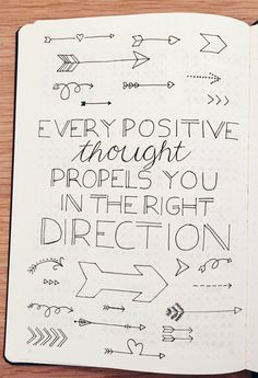 Every positive thought propels you in the right direction. Positivity quotes in . - Every positive thought propels you in the right direction. Positivity quotes in my bullet journal. Bullet Journal Spread, Bullet Journal Inspo, My Journal, Journal Pages, Journal Ideas, Bullet Journal First Page, Bullet Journal Quotes, Bullet Journals, Bullet Journal Fonts Hand Lettering