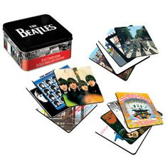 The Beatles Album Cover Coaster Set With Tin Storage Box
