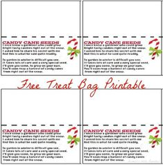 Cane Seeds Treat Bag Topper Free Printable, *Freebie* Legend of the Candy Cane Legend of the Candy Cane Gift Tag Card for Witnessing at Christmas Treat Bags, Simple Christmas, Christmas Stocking, Xmas, Candy Cane Poem, Candy Canes, Candy Cane Coloring Page, Candy Cane Legend, Best Poems