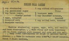 cool mom Bonnie Doon Oaties cookie recipe link to collection of scanned vintage recipes. These sound good Retro Recipes, Old Recipes, Cookbook Recipes, Vintage Recipes, Family Recipes, Homemade Cookbook, Cookbook Ideas, Homemade Food, Cookie Desserts