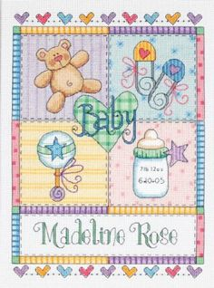 Amazon.com: Dimensions Needlecrafts Counted Cross Stitch, Baby Squares Birth Record: Arts, Crafts & Sewing