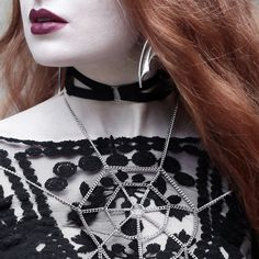 Olivia Emily layers up the Regal Rose Halloween 2016 collection.   #halloween #jewellery #regalrose #goth #costume #web #redlip