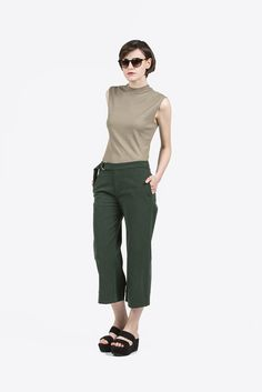 Mock Neck Muscle Tee, Sage by Nomia #kickpleat #nomia #mocktee