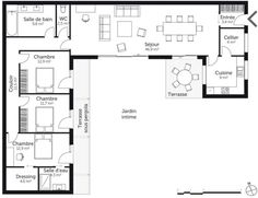R Sultat Search D Images For Plan U House 3 Bedrooms With And Plan Mai . - House Plans, Home Plan Designs, Floor Plans and Blueprints House Layout Plans, Modern House Plans, Small House Plans, House Layouts, U Shaped House Plans, U Shaped Houses, The Plan, How To Plan, Bungalow Floor Plans