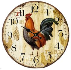 Round Vintage Wooden Rooster Clock – PawzOutlet