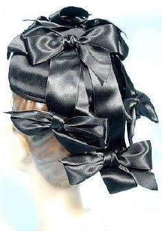 1940's/1950's TREBOR ORIGINAL Black Satin Hat With Ribbons of Bows!