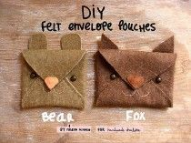 Free tutorial for felt envelope pouches made by Handmade Charlotte