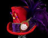 La société Red Hat, violet et rouge libellule Cameo Mini chapeau haut de forme, Alice au pays des merveilles, Mad Hatter Tea Party, Derby Hat