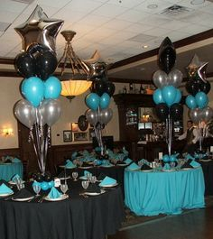 Straightforward Blue And Silver Centerpieces blue and black centerpieces Graduation Table Decorations, Black Party Decorations, Graduation Party Decor, Decoration Table, Balloon Decorations, Birthday Decorations, Graduation Centerpiece, Farewell Decorations, Graduation Balloons