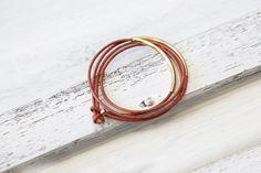 """Armbänder - Echtleder Armband """"Tingval"""" Cognac Orange // Gold - ein Designerstück von pikfine bei DaWanda"""