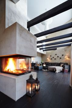 Modern Fireplace, Great Rooms, Architecture Design, Sweet Home, House Ideas, New Homes, Inspiration, Living Room, Interior Design