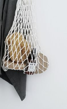 Beautiful handmade eco mesh bag in white. Great for storageand shopping. Welcome to the world of economical, safe and ecological solutions!