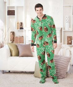 Men's Fleece Footed Pajamas are great for lazy days around the house. Just like your favorite footed pajamas you used to wear as a kid, they have elasticized ankles and rubber grips on the bottoms.