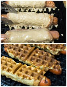 Things to make with a waffle iron (for the record, Drew and I make the cinnamon roll waffles for Christmas breakfast every year. Dog Recipes, Cooking Recipes, Easy Recipes, Recipies, Cinnamon Roll Waffles, Yummy Waffles, Pumpkin Waffles, Cinnamon Rolls, Waffle Maker Recipes