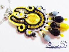 Yellow gray fantasy soutache embroidered by Marecalmojewels