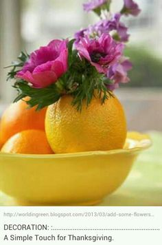 DECORATION: :....................................................A Simple Touch for Thanksgiving. Use different color pumpkins.