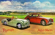 1955 Triumph TR2 and Aston Martin DB2-4 Aintree - Promotional Advertising Poster