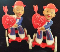 Vintage Rosbro E Rosen Valentine Candy Containers Boys Wheels for Pulling