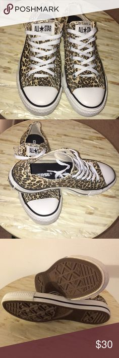Converse All Star⭐️ Low Top Sneakers Converse All Star Low Cut Cheetah Sneakers. Shoe soles show no wear. Size 7 Converse Shoes Sneakers