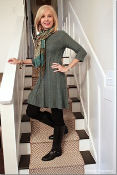 Fashion Over Boots and Dresses - connie ward - - Fashion Over Boots and Dresses sweater dress tunic, leggings, boots, scarf – boots Ralph Lauren from DSW - Boho Fashion Over 40, Fashion Over Fifty, Fashion For Women Over 40, Fall Fashion Trends, Fashion Over 50, Autumn Fashion, Fashion Ideas, Fashion Fashion, Fashion Online