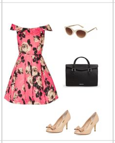 Styled: feminine floral off-the-should fit and flare dress, sunglasses, black bag, nude heels. #fashion #TopShop