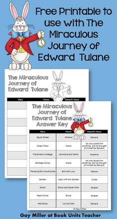Teaching The Miraculous Journey of Edward Tulane by Kate DiCamillo Free Printable Chart to use with The Miraculous Journey of Edward Tulane ~ Students record places, owners, and names Edward is given on this printable. 3rd Grade Books, Third Grade Writing, 4th Grade Reading, Reading Fair, Reading Club, Second Grade, Comprehension Activities, Book Activities, Edward Tulane