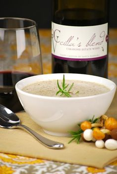 Creamy roasted mushroom soup with a splash of wine
