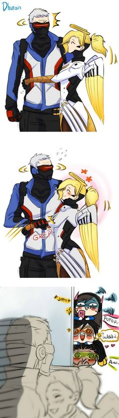 Soldier 76 and mercy as a couple, love, hug | D.va, tracer and lucio are so cute | aww #aww overwatch meme funny humor comic #overwatchComics