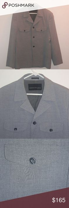 Kenneth Cole New York Blazer / Sport Coat This awesome Kenneth Cole New York blazer is a grey color. With unique, signature style, it is a polyester, rayon, spandex blend. In great, gently-used condition Kenneth Cole Suits & Blazers Sport Coats & Blazers