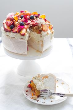 Summer Pavlova with Honey and Thyme Roasted Nectarines and Hazelnuts