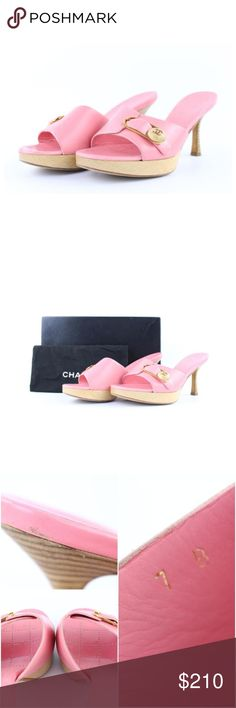 Chanel Pink Cc Logo Mules 2ct1213 Sandals OVERALL GOOD CONDITION ( 7/10 or B ) Size: EU 37 Includes Chanel Gift Box and Dust Bag Signs of Wear: Exterior shows light scratches, few tiny marks and some rubbing. Heels show some wear. Outer soles show some wear and marks. Inner soles show light wear.  This item does not come with any extra accessories. Please review photos for more details. Color appearance may vary depending on your monitor settings. SKU : 2ct1213 CHANEL Shoes Sandals