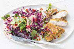 328 cal - This low-calorie pork schnitzel makes a colourful family meal when served with the vibrant buk choy, red cabbage and apple slaw. Almond Recipes, Diet Recipes, Healthy Recipes, Diabetes Recipes, Savoury Recipes, Healthy Meals, Pork And Cabbage, Red Cabbage, Cabbage Soup