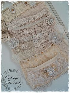 Cottage Dreams: Fabric and Lace Shabby Vintage, Vintage Crafts, Vintage Lace, Vintage Sewing, Fabric Art, Fabric Crafts, Sewing Crafts, Fabric Books, Fabric Journals